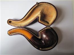 Ancienne Pipe En Bruyère Et Ambre Avec étui - Longueur : 16 Cm. - Pipe In Bruyère