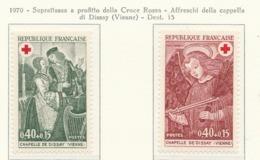 PIA  - FRANCIA  -  1970  : A Profitto Della Croce Rossa -  Affresci Della Cappella Di Dissay  (Vienne)   - (Yv  1661-62) - First Aid