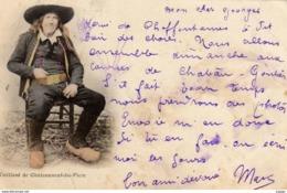 FOLKLORE  Vieillard De Châteauneuf-du-Faou    Carte écrite En 1902  Dos Simple  2 Scans - Costumes