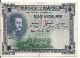 ESPAGNE 100 PESETAS 1925 VF P 69 - [ 1] …-1931 : Primeros Billetes (Banco De España)