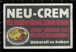 """Old German Poster Stamp Cinderella Vignette Erinoffilo Reklamemarke """"Neu- Crem"""", Shoes Cream, Schuhe Creme. - Vignetten (Erinnophilie)"""