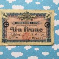 Billet De Nescessite Un Franc Chambre De Commerce De Cognac - Billets