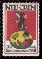 "Old German Poster Stamp Cinderella Vignette Erinoffilo Reklamemarke ""Neu- Crem"", Shoes Cream, Schuhe Creme Woman Frau. - Vignetten (Erinnophilie)"