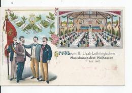 GRUSS VOM II ELSAB_LOTHRINGISCHEN  Musikbundesfest  Mulhausen  7 Juli 1907 - Duitsland