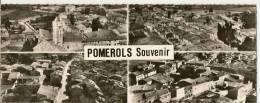 1.2-3.4 - EN AVION AU-DESSUS DE POMEROLS -  L'EGLISE - VUE GENERALE ( 4 VUES ) - France