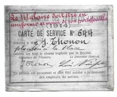 Tramways Liégeois Liège 1914  Carte De Service Permis Personnel Abonnement Pour Militaire Soldat - Billetes De Transporte