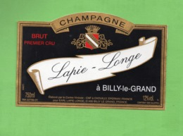 """ETIQUETTE DE CHAMPAGNE """"    LAPIE - LONGE - Champagne"""