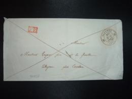 LETTRE OBL.20 MAI 1842 ALZONNE (10) (11 AUDE) + Griffe Rouge PP + OBL.21 MAI 1842 NARBONNE (10) - Marcofilia (sobres)