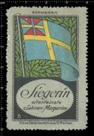 Old German Poster Stamp Cinderella Vignette Erinoffilo Reklamemarke Flag Flagge Sweden Schweden. - Flaggen