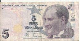 TURQUIE 5 LIRA ND2009 VG++ P 222 - Turkije