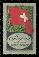 Old German Poster Stamp Cinderella Vignette Erinoffilo Reklamemarke Flag Flagge Switzerland Schweiz. - Flaggen