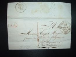 LETTRE OBL.23 JUIN 1832 NARBONNE (10) (11 AUDE) + Griffe Rouge CL à Mr TAPIE MINGAU CHATEAU DE CELEYRAN - Marcofilia (sobres)