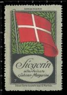 Old German Poster Stamp Cinderella Vignette Erinoffilo Reklamemarke Flag Flagge Denmark Dänemark. - Flaggen