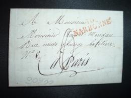 LETTRE (pli Avec Sa Correspondance Intéressante Inondation) Datée 7 Février 1819 + Griffe Rouge 10 NARBONNE (11 AUDE) - Marcofilia (sobres)