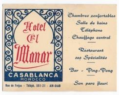 MAROC -  CASABLANCA   -  Hotel EL-MANAR   - Publicité - Reclame