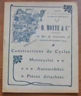 Catalogue Des Cycles Motos Et Accessoires Des Ets  Motte A Levallois, Belles Publicités, Accessoires Surprenants SUPER - Cyclisme