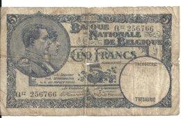 BELGIQUE 5 FRANCS 1930 VG P 97 - [ 2] 1831-...: Belg. Königreich