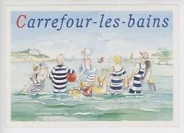 Carrefour Les Bains (réservé Aux Abonnés Du Journal De Carrefour) Cp Vierge - Bouée Canard épuisette Vacances Plage Palm - Pubblicitari
