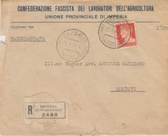 473 - STORIA POSTALE - BUSTA - CONFEDERAZIONE FASCISTA DEI LAVORATORI DELL'AGRICOLTURA - IMPERIA - 6. 1946-.. Repubblica