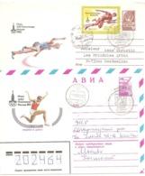 """1980 Jeux Olympiques De Moscou :2 Entiers Postaux Voyagés """"Athlétisme :hauteur Et Triple-saut) - Summer 1980: Moscow"""