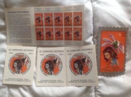 Contre La Tuberculose 1972-73, 4 Carnets 10 Timbres 0,5f, 1 Timbre à 5F - Erinnophilie