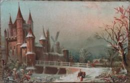CPA, Publicité Chocolat LOUIT, Illustration, Paysage Enneigé, Château, Cavalier - Publicité