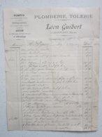 PLOMBERIE, TOLERIE - Léon GUIBERT à CHAMPLEMY (58) Le 10/10/1899 - Facture à Entête, Lettre Signée - Petits Métiers