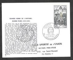 Enveloppe Premier Jour Jeanne D'arc 1968 - Covers & Documents