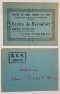 BON POUR UNE PORTION - SOCIETE DE ST VINCENT DE PAUL - TOULOUSE - CENTRE DE RECONFORT - TAMPON S.V.P. 1943 - CATHOLIQUE - Monetary / Of Necessity
