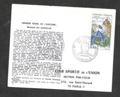 Enveloppe Premier Jour Bertrand Du Guesclin 1968 - Covers & Documents