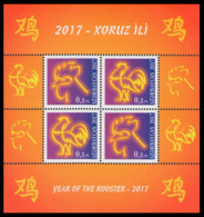 2017Azerbaijan 1186-87/B175Year Of The Rooster - Aserbaidschan