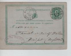 PR7451/ Entier CP N°8 C. BXL 1/JUIN/1878 C.Victor Thinot C.ambulant Angleterre - Ouest 2 2 Juin 78 > Bradfort - Postmark Collection