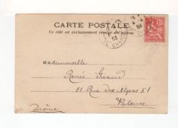 Sur CPA De Paris Pour Valence CAD Double Paris XVI Place Chopin 1903 Sur Type Mouchon Retouché. (3327) - 1877-1920: Periodo Semi Moderno