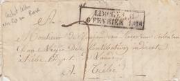 CACHET D'ESSAI FEVRIER 1828. LIMOGES LE 6 FEVRIER POUR TIEBE TAXE PLUME 7 / 2605 - Storia Postale