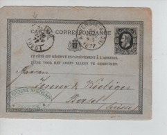 PR7452/ Entier CP 10c C.Anvers(Station) 26.Janv.1877 C.DeBrowne Menzels C.Ambulant Suiise Nord 1> Basel Suisse - Ambulants