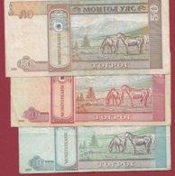 Mongolie 3 Billets Dans L 'état (5 Lots AUCUN DOUBLE) Lot N °1 - Mongolei