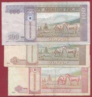 Mongolie 3 Billets Dans L 'état (5 Lots AUCUN DOUBLE) Lot N °2 - Mongolei