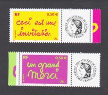 """France Timbres Personnalisés N° 3636A Et 3637A """"Ceci Est Une Invitation Et Un Grand Merci"""" Neuf ** - Frankreich"""