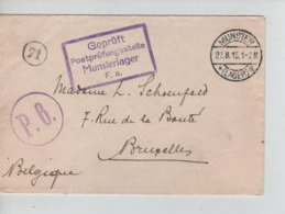 PR7454/ Lettre PDG-POW-KFS Camp De Munster 27/8/15 Censures Du Camp P.6. > BXL - WW I