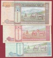 Mongolie 3 Billets Dans L 'état (5 Lots AUCUN DOUBLE) Lot N °4 - Mongolei