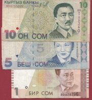Kirghizistan 3 Billets Dans L 'état - Kirgisistan