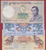 Bhoutan 3 Billets Dans L 'état - Bhoutan
