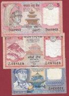 Népal  3 Billets Dans L 'état (5 Lots AUCUN DOUBLE) Lot N °1 - Nepal