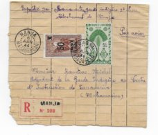 MADAGASCAR - 1944 - FRANCE LIBRE - ENVELOPPE FABRICATION ARTISANALE !!! RECOMMANDEE AVION De MANJA => TANANARIVE - Madagascar (1889-1960)