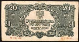 Polonia POLAND 20 ZLOTYCH 1944 PICK#113 BB LOTTO 2950 - Pologne