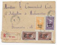 MADAGASCAR - 1943 - FRANCE LIBRE - ENVELOPPE RECOMMANDEE LOCALE De TANANARIVE - Covers & Documents