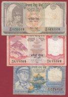 Népal  3 Billets Dans L 'état (5 Lots AUCUN DOUBLE) Lot N °2 - Nepal