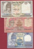 Népal  3 Billets Dans L 'état (5 Lots AUCUN DOUBLE) Lot N °3 - Nepal