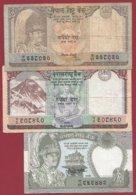 Népal  3 Billets Dans L 'état (5 Lots AUCUN DOUBLE) Lot N °4 - Nepal