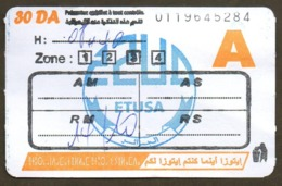 1 Ticket Transport Algeria Bus Algiers Alger - Biglietto Dell'autobus - 1 Busticket Tickets (different Paper) - Monde
